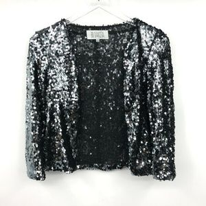 BB Dakota Sequin Jacket S Womens Open Front Collar